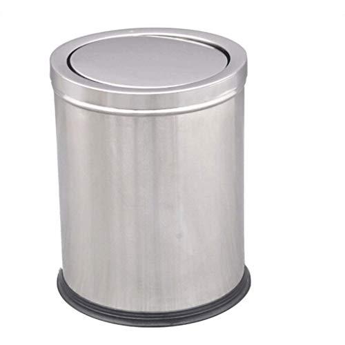 1yess Mülltonne Mülleimer-Mülleimer-Mülleimer-Dose Haushaltsküchen-Abfall-Hotel-Schulbüro mit Deckel-Papierkasten 12l Mülleimer (Farbe: Silber) (Color : Silver)