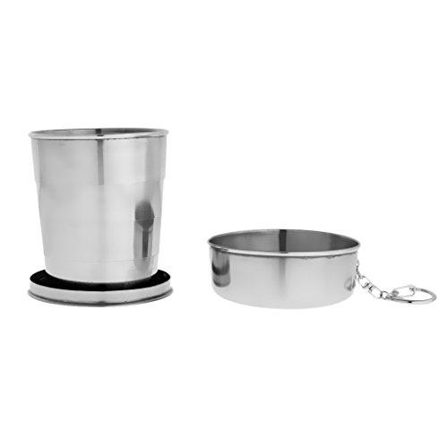 MagiDeal Portable faltbar Trinkbecher Edelstahl Teleskop Tasse Milchbecher Schale für Camping & Reisen - 240ml