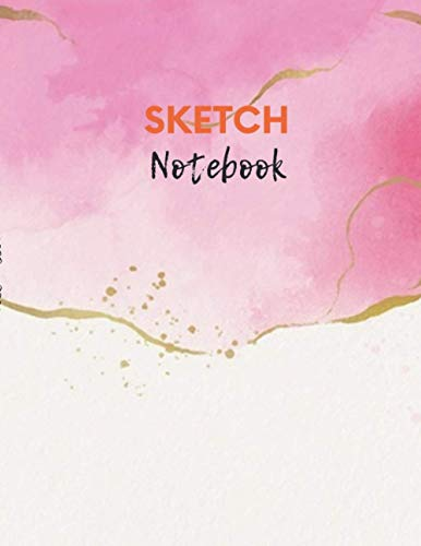 Sketch Notebook for drawing, doodling or sketching Watercolor wallpaper with golden foil cover, 100 pages - Large(8.5 x 11 inches)