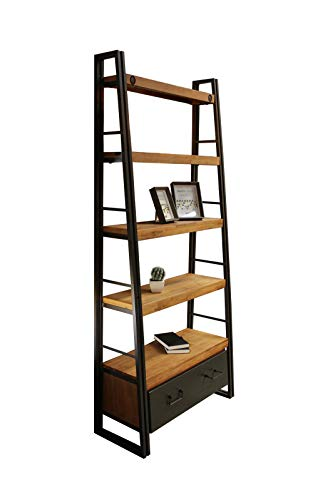 Meubletmoi - Scaffale libreria inclinata in stile industriale, 5 ripiani, 1 cassetto, in legno massiccio acacia e metallo, design vintage Factory