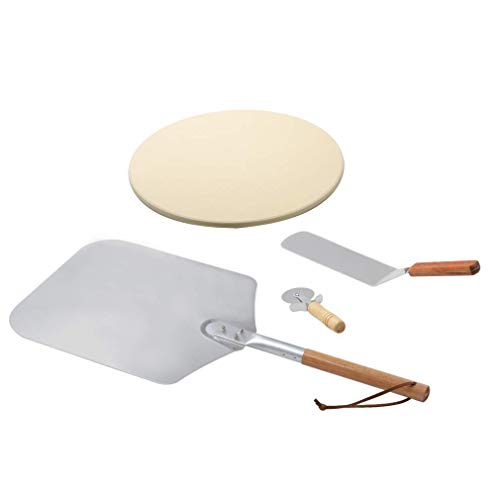 Onlyfire Pizza Oven Tools & Accessories, Pizza Stone Heat Deflector ? 38cm, 17cm Cutter Wood Handle, Aluminum Pizza Peel with Handle 71cm, Shovel Knife Spatula 35.6cm