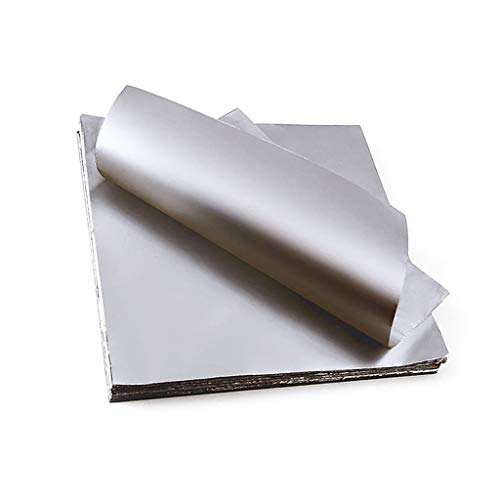 XYSQ Heavy Duty Aluminum Foil Rolls (20μm Thick) Aluminum Foil Tinfoil Silver Paper Packaging for Food Storage and Grilling - 100 Sheets for The Kitchen (Size : 40cmx40cmx20um)