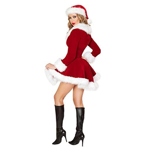 Purelemon Disfraz De Mamá Noel, Disfraz De Navidad/Santa Claus Mujer,Vestido Rojo De Terciopelo Princesa Traje De Santa Mamá Noel Fiesta Chicas Cosplay Christmas Ropa De Navidad Adulto
