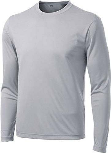 DRI-Equip Long Sleeve Moisture Wicking Athletic Shirt-Large-Silver