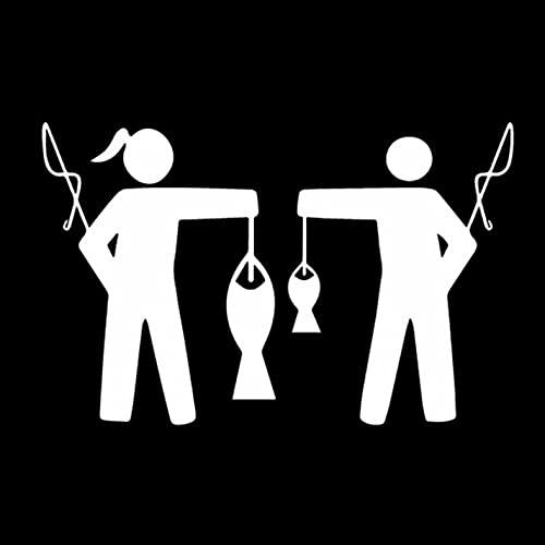 PAOPD Pegatinas de Coche Divertidas de 15,9 CM * 10,2 CM de Pesca de niña y Chico para Ordenador portátil, Coche, monopatín, Botellas de Agua, Guitarra, Tabla de Snowboard (3 Piezas