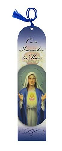 Ferrari & Arrighetti Segnalibro Sacro Cuore di Maria a Forma di Cupola con Fiocchetto blù - 5,5 x 22,5 cm