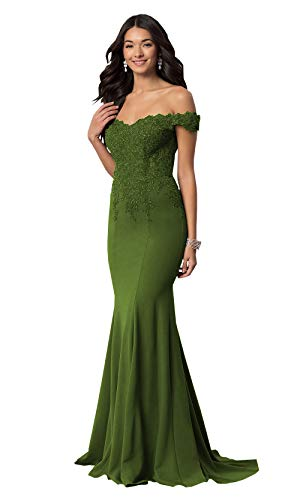 Mermaid Off The Shoulder Prom Dresses Long for Women Lace Beaded Chiffon Formal Party Gowns (Olive Green,16)