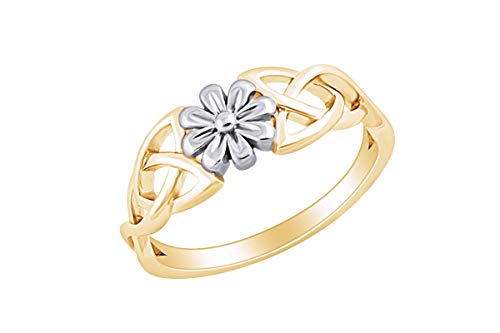 AFFY 14k Yellow Gold Plated Sterling Silver Two Tone Celtic Daisy Flower Promise Ring for Women Ring Size-9