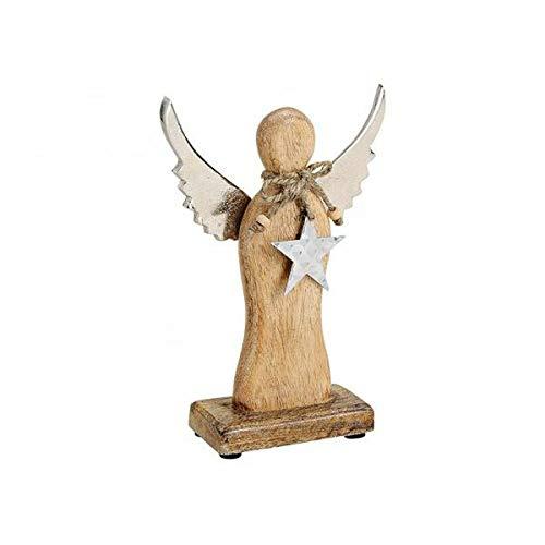 G. Wurm Engel Deko Figur Statue Skuklptur Dekoration aus Holz Braun Metall Flügel Stern Anhänger Mangoholz 15x23x6cm