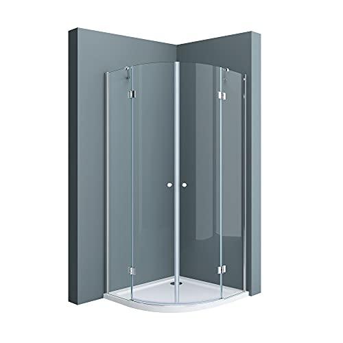 doporro Cabina de ducha de cuarto de círculo 80x80x190cm diseño Ravenna02K Mampara...