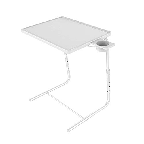 Side Movable Table Adjustable Bed Sofa Laptop Stand, Work Tray with 6 Heights & 3 Tilt Angles Adjustable, White 0928