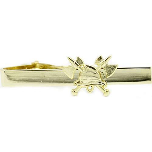 Feuerwehr Krawattennadel mit Clipverschluss mit Appliklation Feuerwehrhelm und gekreuzte Axt in gold- oder silberfarben passend für Ausgehuniform