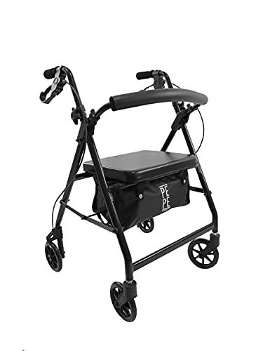 PEPE - Andador para Ancianos Plegable, Andadores para Ancianos, Andadores Adultos 4 Ruedas, Andadores para Ancianos con Asiento y Cesta, Andador Ancianos de Aluminio Altura Regulable, Negro.