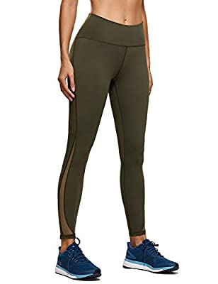 CRZ YOGA Naked Feeling High Waist 7/8 Leggings Mesh Yoga Tight Workout Leggings with Zip Pocket-25 Inches Dark Olive 25'' - Zip Pocket Large