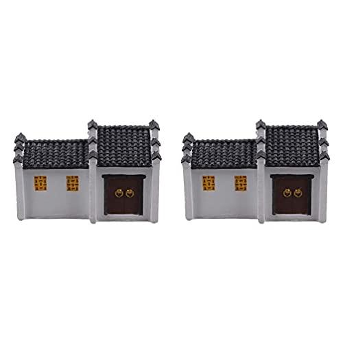Miniatur-Moos-Feengarten-Steinhaus-Statue, chinesisches Bauhaus, Modell, Mikro-Landschaft, Aquarium-Dekoration für Puppenhaus-Zubehör, 2 Stück
