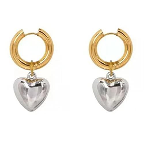 1 par de Pendientes de Gota metálicos en Forma de corazón para Mujer Pendientes de diseñador de joyería Pendientes de joyería de Regalo de San Valentín para niña - Oro + Plata