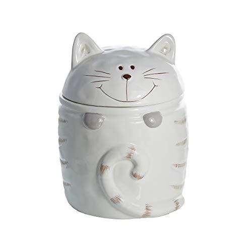 Keramik Vorratsdose mit Deckel, Kaffee Tee Zucker Küche Aufbewahrungsbehälter Katze Motiv (weiß) - Katze Geschenk für Katzenliebhaber Katzenfreunde