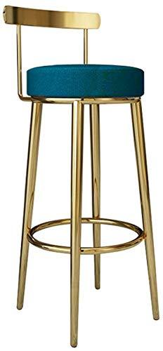 Wghz Taburete de Bar Altura de Pub Reposapiés Desayuno Cocina Mostrador Hogar Café Respaldo Taburetes de Bar de Metal Dorado Textil Lino Tapizado Redondo, Carga máxima 200 kg Taburetes de Bar Res