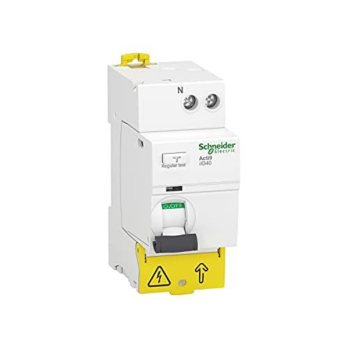 Interruptor diferencial Acti9 ILD40, 1P + N, corriente nóminal de 40A, sensibilidad a la fuga a tierra 300mA, clase AC, 7,4 x 3,6 x 9,6 centímetros, color blanco (referencia: A9R73640)