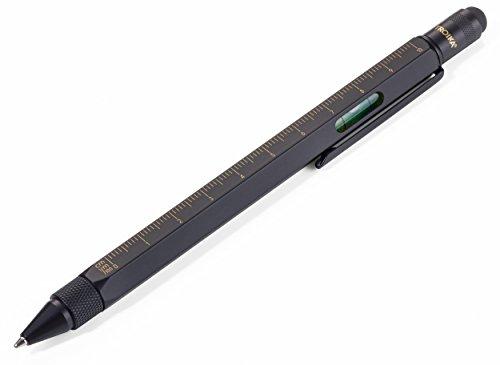 TROIKA CONSTRUCTION Multitasking-Kugelschreiber - PIP20/BG - schwarz/gold - Zentimeter- und Zoll-Lineal - 1:20 m und 1:50 m Skala - Wasserwaage - Schlitz- und Kreuzschraubendreher - Stylus