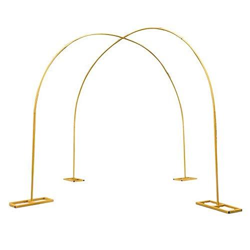 LLZH Arco de Jardín Dorado de 2 Piezas, Soporte de Flores de Boda para Decoración de Fiesta Nupcial, Arco de Globos de Metal, Decoración de Ceremonia,2.6x2.6m