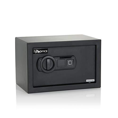 hjh OFFICE Cassaforte con sensore di impronte digitali, 8,5 l, SAFE COMPACT II, acciaio nero, doppio bullone, 20 x 31 x 20 cm, 830039