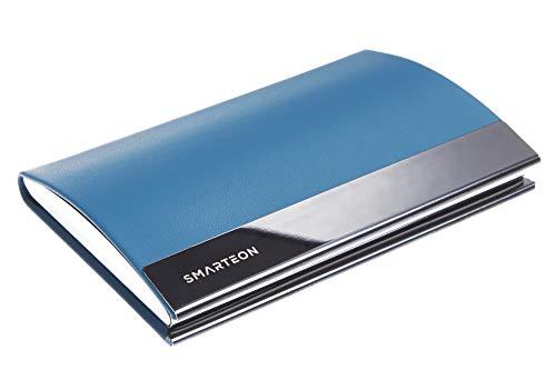 SMARTEON | Visitenkartenetui blau | Premium Visitenkartenhalter zur schonenden Aufbewahrung Ihrer Karten | Hochwertige Visitenkartenhülle aus Edelstahl inkl. Geschenkbox