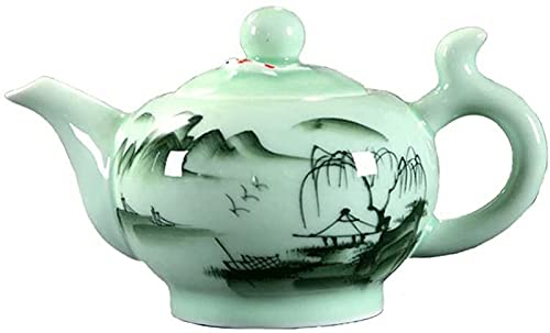 CJDM Tetera Pintado a Mano Celadon Kung Fu Juego de té Tetera Puer Oolong Tetera de Agua con Filtro, Tetera de cerámica.(Color: A)