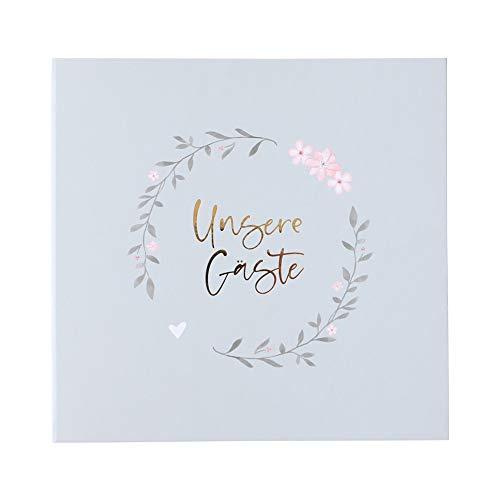 Odernichtoderdoch Hochzeits-Gästebuch grau'Unsere Gäste' mit Stickerbögen - 25,0 x 27,0 cm - 160...