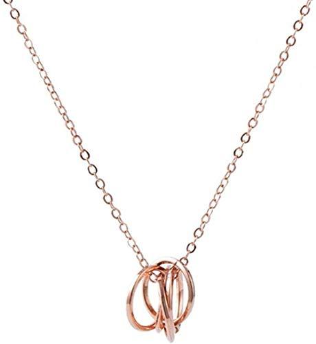 Collar Elegante Collar Colgante de Cinco círculos Collar de Cinco Anillos joyería de Fiesta de Aniversario de Boda para Mujer