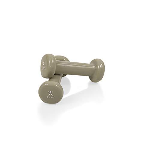 AFH-Webshop Gymnastikhanteln | Hanteln | Vinyl | Kurzhanteln | Paar | 2 x 0,50 kg | beige