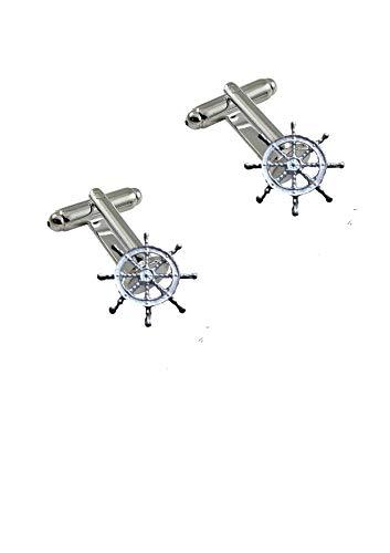 Giftsforall FT266 Manschettenknöpfe Steuerrad 3,2 cm aus feinem englischen Zinn