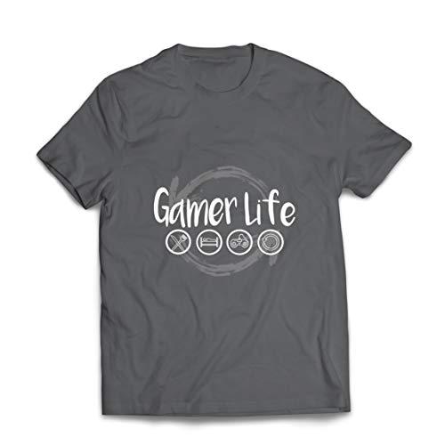 lepni.me Camisetas Hombre Vida de Jugador Regalo para el Jugador Geek (Small Grafito Multicolor)