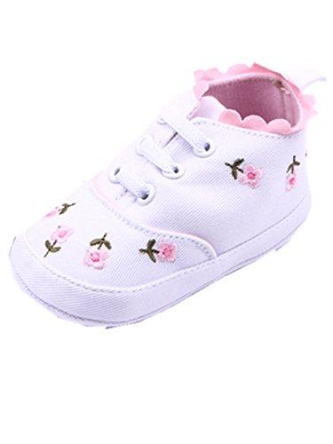 YICHUN Bébé Filles Chaussures de Premier Pas Chaussures de Princesse Chaussures Souples Fleurs (Longueur de Semelle: 12CM, Blanc)