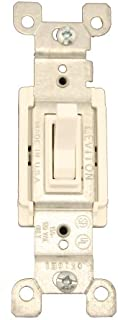 Leviton 1453-2W 15 Amp, 120 Volt, Toggle Framed 3-Way AC Quiet Switch, Residential Grade, Grounding, Quickwire Push-In & Side Wired, White