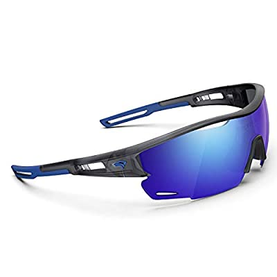 Polarized Sports Sunglasses for Men Women - UV Protection Cycling Sunglasses for Running Fishing Cycling Driving Baseball Golf Glasses TR90 Frame TR21 SNIPER (Extinction Grey&Blue&Blue Revo lens)