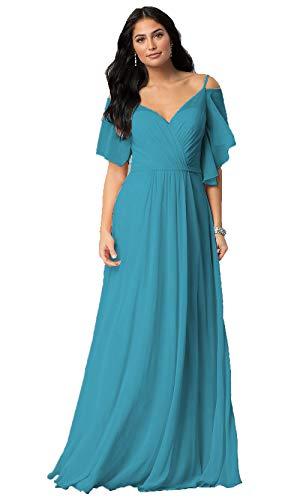 Jade V-Neck Spaghetti Strap Birdesmaid Dresses with Sleeves Long Chifon Formal Wedding Party Dress 2019 for Women