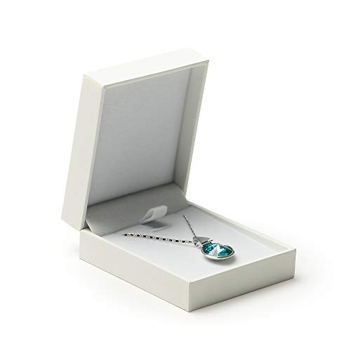 Oirlv Caja de Regalo de Joyas de Cuero sintético Blanco Caja de Regalo de Almacenamiento de Joyas Anillo Pendiente Collar Pulsera Conjunto de Joyas Cajas