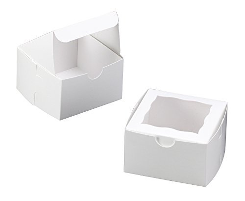 White Bakery Box with Window 4x4x2.5 inch 25 PACK cupcake boxes, gift box, wedding, party favor, donut, pie, cookie boxes