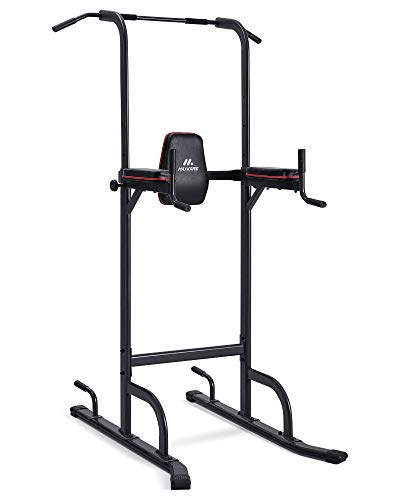 MaxKare Power Tower Dip Station Adjustable-4 Levels Adjustable Height-Pull Up Bar Dips Stand Ab Exercise Rack-Home Gym Equipment for Family Workout Indoor & Outdoor