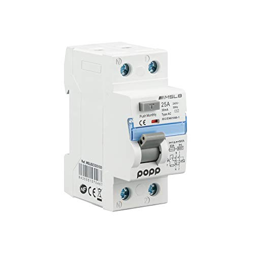 POPP® Electric Interruptor diferencial industrial TIPO AC 2 Polo 4 Polo 30mA 300mA SERIE MSL8 (25A 30mA, 1P+N)