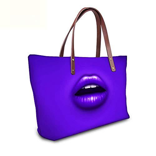 Damen Handtasche Shopper Tasche Sexy Lippen Henkeltasche aus Nylon für Schule Reisen Arbeit und Einkäufe Lila