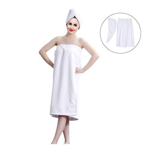 Kilt da sauna per donna, sarong morbidissimo con cintura e asciugamano coordinato per i capelli, in cotone biologico, dimensioni 150 x 90 cm Rosarot
