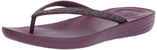 Fitflop Women's Iqushion Sparkle Flip Flops, Beetroot, 7