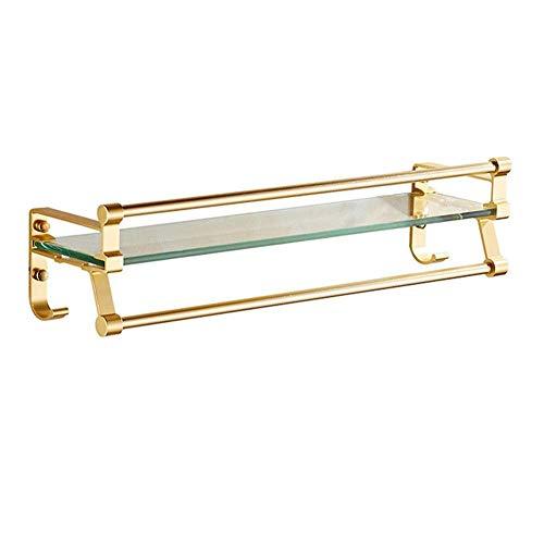 HYYDP Organizador de ducha de cristal para baño, con riel, grueso, montaje en pared, aluminio y vidrio templado, accesorio de baño, baño, organizador de almacenamiento, color dorado (tamaño: 60 cm)