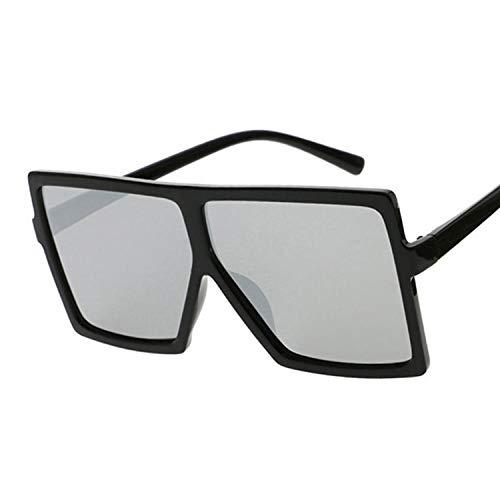 DLSM Gafas de Sol Femeninas cuadradas Gafas de Sol Femeninas Gafas de plástico Lente de Marco Transparente UV400 Conducción de Moda Sombra Adecuado para Pesca y Calle de Golf-Plata Negra