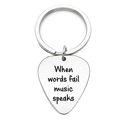 Adokiss Stainless steel keychain, round/heart, military plate engraving when words, fail music speaks, key fob, key tags pendant, handbag pendant, silver, 3.1 x 2.6 cm Round