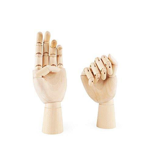 PDFans – Mano articulada de maniquí de madera con dedos flexibles para dibujo artístico, presentación Left+Right Hands