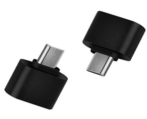 Haodou 2 Stück OTG Adapter Micro USB Stecker auf USB Weiblich für Samsung Google Sony HTC Huawei Android Smartphone Tablet (Schwarz)