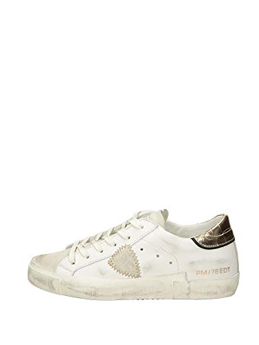 Philippe Model Paris X Veau Croco Sneaker Damen Weiss/Gold - 37 - Sneaker Low Shoes